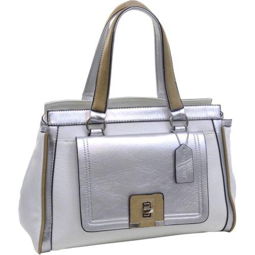 dasein-two-tone-metallic-contrast-satchel-white-silver