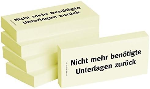 """5 x 100er Block Haftnotizen """" Nicht mehr benötigte Unterlagen zurück"""""""