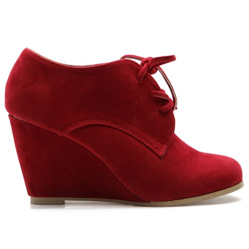 Ollio Women's Shoe Faux Suede Wedge Heel - Red Lace Up Boots Shopping Results