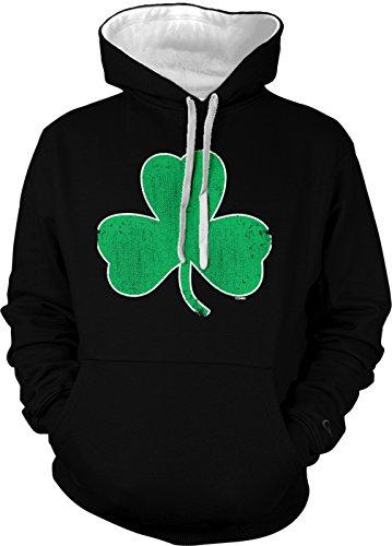 Clover Hoodie (Shamrock - St. Patrick's Day Men's 2 Tone Hoodie Sweatshirt (Large, BLACK / WHITE)