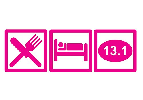 DD645HP Eat Sleep 13.1 Half Marathon Decal Sticker | 7.5-Inches By 2.5-Inches | Premium Quality Hot Pink Vinyl
