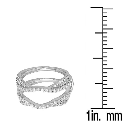 075-Carat-ctw-14K-Gold-Diamond-Ladies-Anniversary-Wedding-Band-Enhancer-Guard-Double-Ring-34-CT