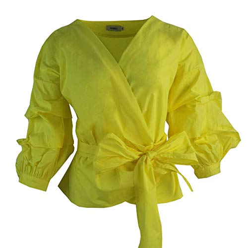 - AOMEI Yellow Color Women Spring Summer Blouses with Puff Sleeve Sashes Shirts Tops Size M