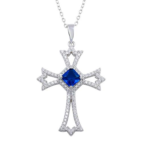 Princess Kylie Synthetic Sapphire Clear Cubic Zirconia Open Cross Hanging Sterling Silver