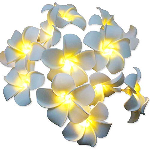 AceList Hawaiian Luau Party Decoration 20 LED Foam Plumeria String Light for Wedding Beach Birthday Party Supplies - Waterproof White -