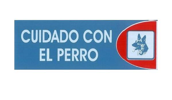 CUIDADO CON EL PERRO. CARTEL LETRERO ADHESIVO 18 X 6 CMS ...