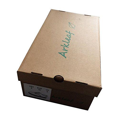 Arkleaf Da Donna Antiscivolo Resistente Antiscivolo Lavoro Sicurezza Allacciata Ark001 Scarpe Piatte In Pelle Nera Nere