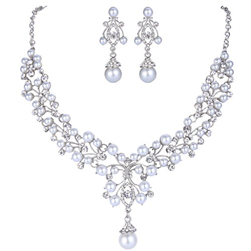 EVER FAITH Flower White Simulated Pearl Wedding Jewelry Set Clear Austrian Crystal - Silver-Tone - Crystal Pearl Wedding Jewelry