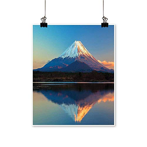 Rich in colorEast Nature Mount Fuji and Lake Shoji Picture Clear Sky Sunset Print Decor for Living Room,24