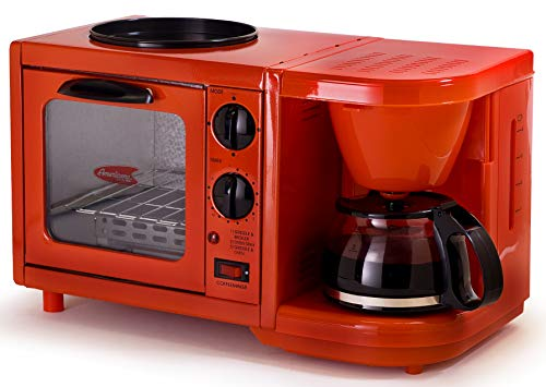 Maxi-Matic EBK-200R Coffee Maker Toaster Oven Griddle 3-in-1 Multi-function Breakfast Center, Regular, Red (Easy Cheapest Bake Oven)