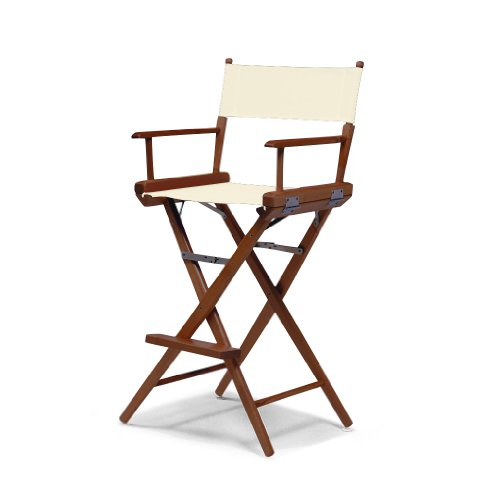 Telescope Casual World Famous Bar Height Director Chair, Natural with Walnut Frame