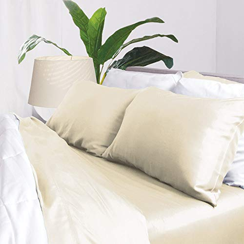Aloha Soft Bamboo Sheets 4 Piece Bed Sheet Set - Includes Bed Sheets and Pillowcases - Lifetime Quality Guarantee (King, Ivory)
