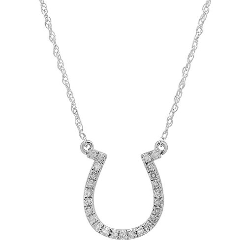 0.22 Carat (ctw) 14K White Gold Round Diamond Ladies Horseshoe Pendant 1/4 CT(Silver Chain Included)