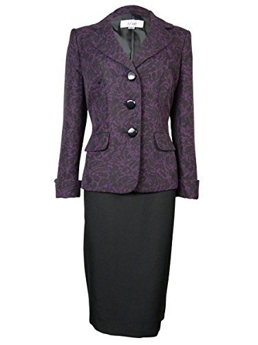 Le Suit Women's Patterned Vienna Skirt Suit
