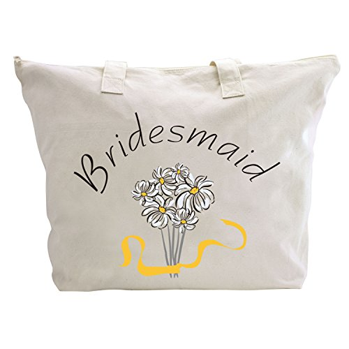 Gift Bag ElegantPark Hen Daisy Bag Cotton 1 Zip 1 Interior Bridesmaid Wedding Pcs Tote 100 Bridesmaid Party X AwArpvRzq