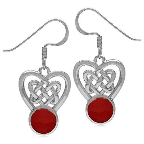 Silvershake 7mm Created Round Shape Red Coral Inlay 925 Sterling Silver Celtic Heart Knot Dangle Hook Earrings