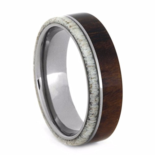 Deer Antler, Ironwood 6mm Comfort-Fit Titanium Wedding Band and Sizing Ring, Size 7.5 by The Men's Jewelry Store (Unisex Jewelry)