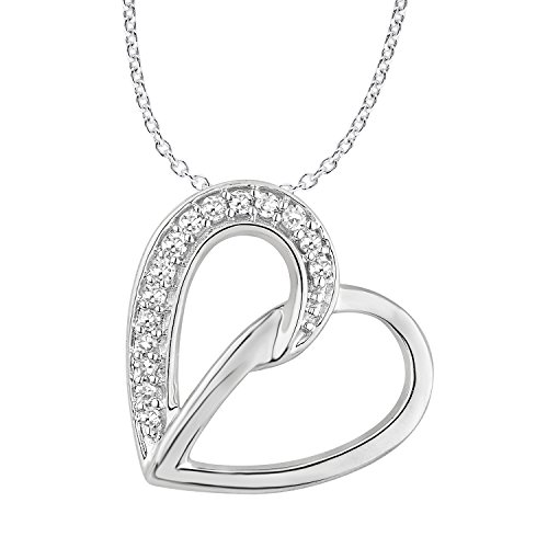 10k Gold Tilted Heart Pendant Necklace with Diamond Accents (0.05cttw, IJK/I2-I3) by EternalDia