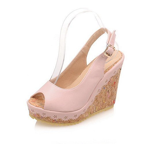 AmoonyFashion Heels Solid Peep Soft Buckle Sandals Pink Womens Toe Material High rwIrqg