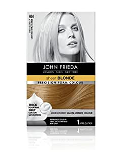 John Frieda Precision Foam Color, Light Natural Blonde 9N, Full-coverage Hair Color Kit, with Thick Foam for Deep Color Saturation (16190)