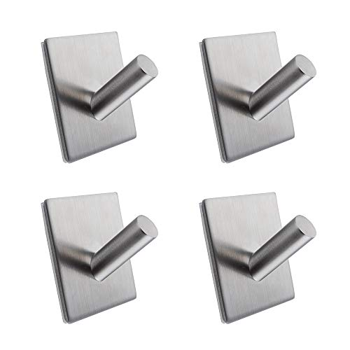 Kes SUS 304 Stainless Steel Self Adhesive Towel Robe Hook and Self Sitck On Wall Hook Sticky Brushed Finish 4 Pieces, A7063-P4