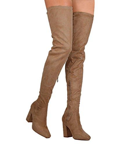 CAPE ROBBIN FG69 Women Faux Suede Thigh High Block Heel Boot Taupe 72RJJKN
