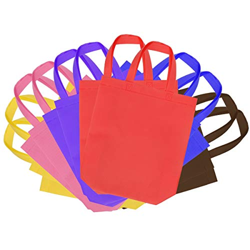 Senfhome Assorted Colorful 12 Pack Party Favor Tote Gift Bags with Handles - Polyester Non-Woven Material for Kids Birthday (12