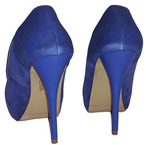 Elegante Stiletto Pumps High Heels Trachtenschuhe in lila, rot, schwarz oder blau mit extra großer Rose / Schleife / Edelweiß, Damenschuhe, PHH002, Schuh für Damen, ein wirklich toller Schuh. Blau