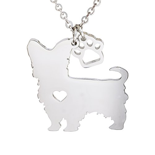 Melix Animal Yorkie Labrador Pitbull Husky Alaskan Akita Boxer Corgi Dachshund German Shepherd Golden Retriever stainless steel silvering Pet Dog Doggy Pendant Necklace Gift (Dog Jewelry)