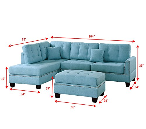 Poundex PDEX- Sofas, Light Blue - Seat Cushion Filled with foam and inner Spring for durability and comfort Tufted Seat and Back Designer carefully selected linen-like polyfabric for wear ability, seam strength, beauty and comfort - sofas-couches, living-room-furniture, living-room - 41oRI4zFzLL -