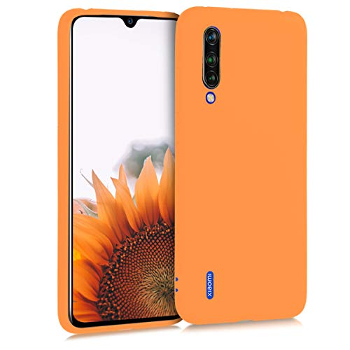 kwmobile TPU Silicone Case Compatible with Xiaomi Mi 9 Lite - Soft Flexible Protective Phone Cover - Cosmic Orange