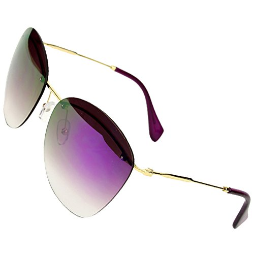 Sumery Fashion Designer Rimless Silver Or Gold Arm Sunglasses Women Ladies (Gold, Purple)