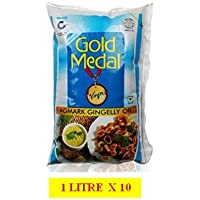 Gold Medal Agmark Gingelly Oil - Factory Direct Buy Box 1litre X 10 Pouch (Pack of 10)