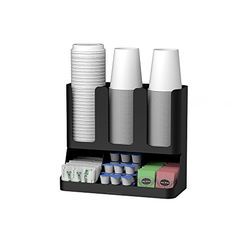(Mind Reader 6 Compartment Upright Breakroom Coffee Condiment and Cup Storage Organizer, Black)
