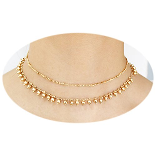 T-Doreen Dainty Choker Necklaces Set Gold Ball Beads Tassel Chain Necklace for Women Girls