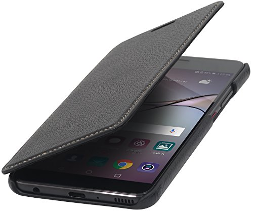 StilGut Genuine Leather Case for Huawei P10 Plus, Slim Book Type Folio Flip  Cover, Black