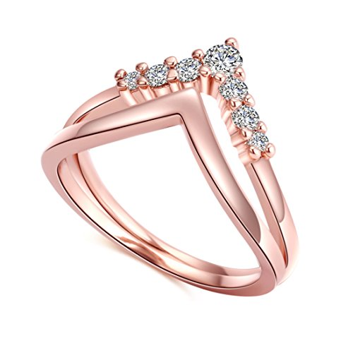 CRARINE Women Stackable Promise Engagement Ring Set Zirconia Eternity Wedding Band Plated Rose Gold