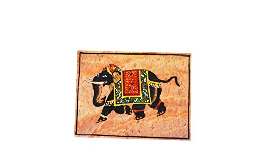 ALABASTER MARBLE Elephant Painting Decorative Marble Box For Jewellery Storage/Gift (Alabaster Painting)