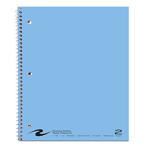 (Roaring Spring Wirebound Notebook, Two Subject with 2 Double Pockets, 11