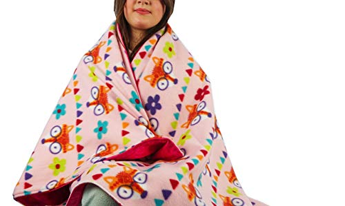 Fleece throw blanket- Pink fox by Created by Laura