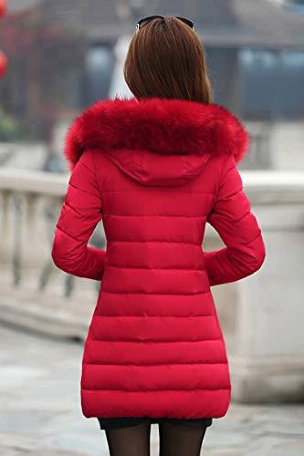 Sólido Color De Mujeres Invierno Capucha Con Fit Slim Caliente Piel Manga Grande Abrigos Parkas Larga Plumas Pluma Rojo Espesar Mujer Casuales Talla OAgFw6q
