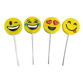 Yellow Emoji Smile Face Lollipop Sucker 1 Dozen
