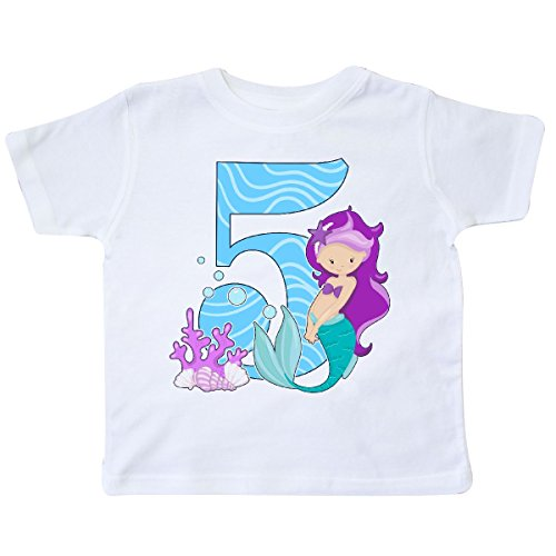 inktastic - Fifth Birthday Mermaid Toddler T-Shirt 5/6 (5th Birthday Toddler T-shirt)
