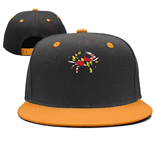 Crab Maryland Flag Cap Hat for Men All Cotton Cap Snapback Vintage Twill Yellow ()