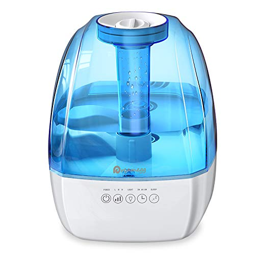 Cool Mist Humidifier - Humidifiers for Bedroom, Ultrasonic Mist Humidifier for Large Room with 3 Levels, Auto-off Timer, Sleep Mode, Night Light, Quiet Humidifier for Baby Home Office, ETL Approved
