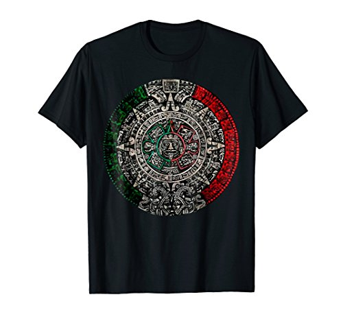 Aztec Calendar Sun Stone Mexican Art Carving Maya Mayans (Mens Aztec Shirt)