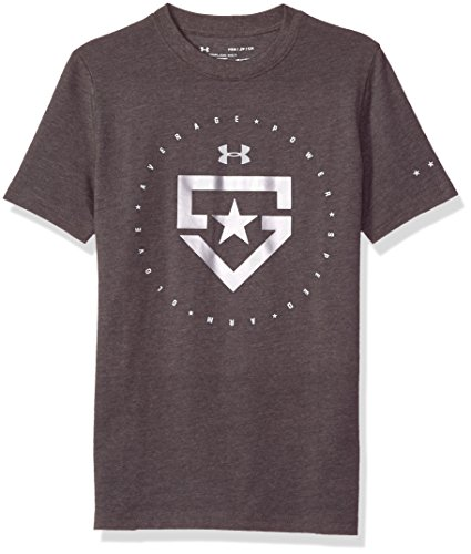 Boy's Under Armour Boys' Heater T-Shirt,Charcoal Medium Heat (019)/Metallic Silver, Youth Large