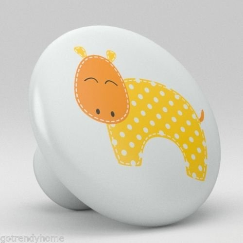 Yellow Hippo Cute Animal Nursery Ceramic Knobs Pull Closet Dresser Drawer 2070 by gotrendyhome
