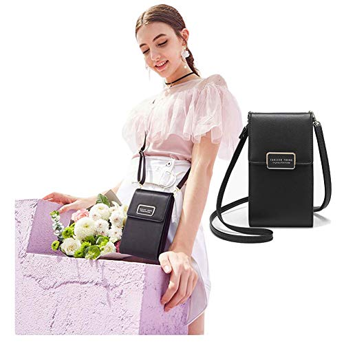 Purse Pouch Black Holder Wallet 5 Inch For Cell Under iPhone Smartphone Leather Phone Bag Card Credit Samsung Women Storage Girls Crossbody PU With 5 vSgnYq