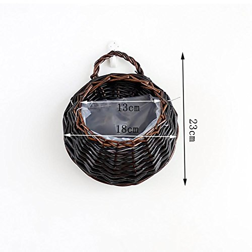 (Wicker Rattan Flower Basket Pot Planter Hanging Vase Container, Handmade Wicker Hanging Flower Basket Rattan Plant Vine Wall Basket for Home Garden Indoor Outdoor Wall Decoration)